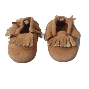 💗Moccasins with Fringe, Faux Suede, Brown, 4